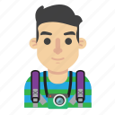 avatar, backpacker, camera, man, photo, travel, trip icon
