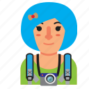 avatar, backpacker, girl, traveler, trip, vacation, woman icon