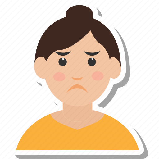 cartoon, character, girl, sad, woman icon