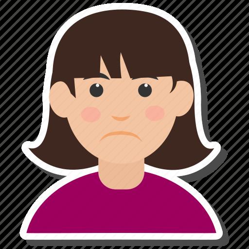 avatar, female, girl, sad, women icon