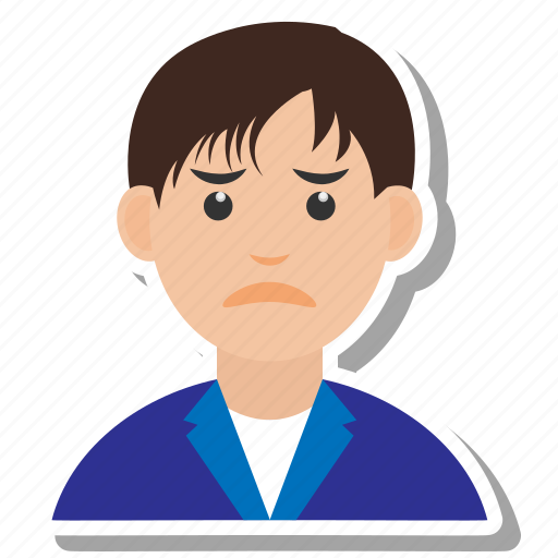 avatar, boy, man, sad, user icon