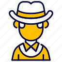 avatar, costume, cowboy, hat, human, people icon