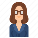 avatar, hair, glasses, business, woman, women, long icon