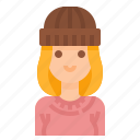 avatar, beanie, beautiful, sweaters, woman, women icon