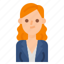 avatar, curly, hair, long, woman, women icon