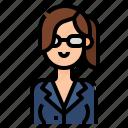 avatar, business, glasses, woman, women icon