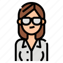 avatar, business, glasses, hair, long, woman, women icon
