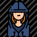 avatar, hacker, hoodie, women icon