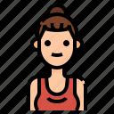 avatar, bun, hipster, woman, women icon