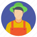 agriculturist, farm landowner, farmer, farmer get up, farmer hat icon