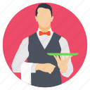bartender, butler, chauffeuring, server, waiter, waiting tables icon