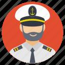 head of the ship, navy captain, sailing ship, ship captain, shipping head icon