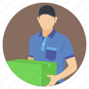 delivering goods, delivering items, delivery man, package delivery, packaging service icon
