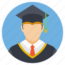 college student, degree awarding, graduate student, graduation ceremony, graduation outfit icon