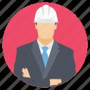 engineer, engineer with helmet, engineer working, field job, supervising icon