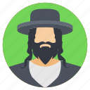 bearded man, bearded model, long haired man, man with hat, shady character icon