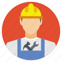 mechanic, mechanic with tools, mechanical tools, safety helmet, technician icon