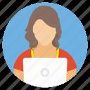 female employee, female worker, remote employee, secretary, virtual staff icon