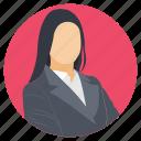 business representative, business woman, female entrepreneur, female vector, professional icon