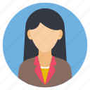 female interviewee, female job profile, office job, profession, woman avatar icon