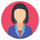evaluator, female interviewee, invigilator, woman profile, working lady icon