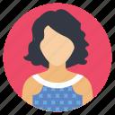 female avatar, girl in dress, pretty dress, short hair, woman profile