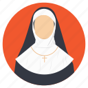 christian, female figure, nun, religious figure, spiritual guide