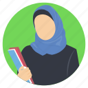 female learner, female student, hijabi woman, muslim student, muslim woman