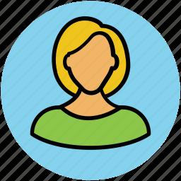 avatar, female, feminine, lady, short hair icon