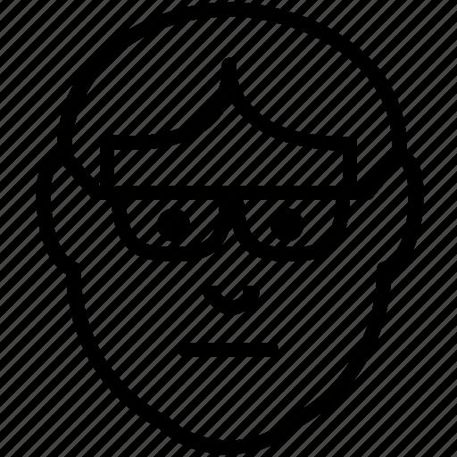 avatar, emoticon, geek, glasses, nerd, nerdy icon