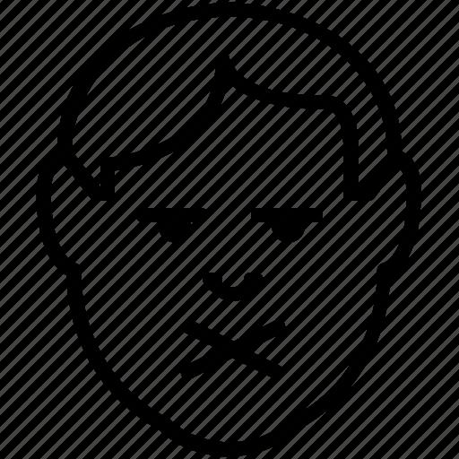 avatar, emoticon, emotion, man, private, secret icon
