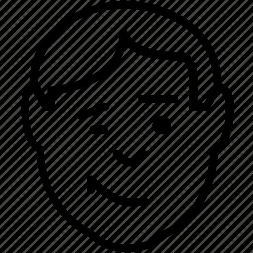 avatar, emoticon, man, smile, wink, winking icon