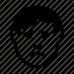 avatar, emoticon, expression, face, man, sad, unhappy icon