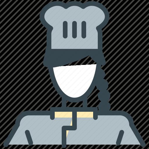 avatar, chef, girl, person, profession, profile, woman icon