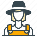 avatar, farmer, girl, hat, person, profile, woman icon