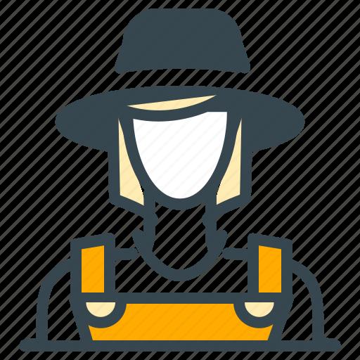avatar, farmer, girl, hat, person, profile, woman icon