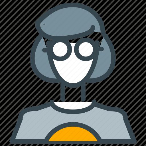 avatar, geek, glasses, nerd, person, profile, woman icon