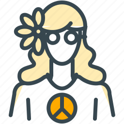 avatar, flower, hippie, person, profile, woman icon