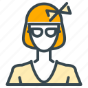 avatar, bow, girl, person, profile, student, woman icon