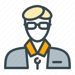 account, avatar, glasses, person, profile, teacher icon