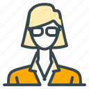 avatar, girl, glasses, person, profile, teacher, woman icon
