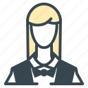 avatar, bow, person, profession, profile, waitress icon