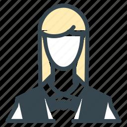 avatar, bow, person, profession, profile, waitress icon