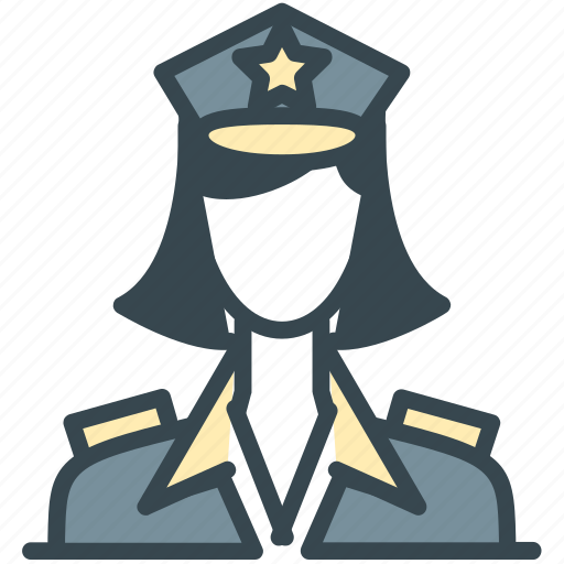 avatar, girl, officer, person, police, profile, woman icon
