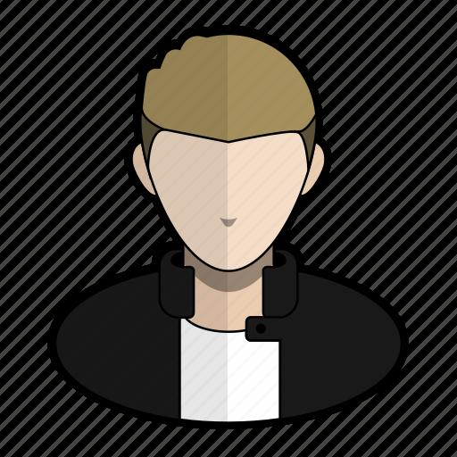 avatar, badboy, hairgel, jacket, leather, profile, user icon