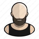 avatar, bald, biker, profile, shiny, tanktop, user icon