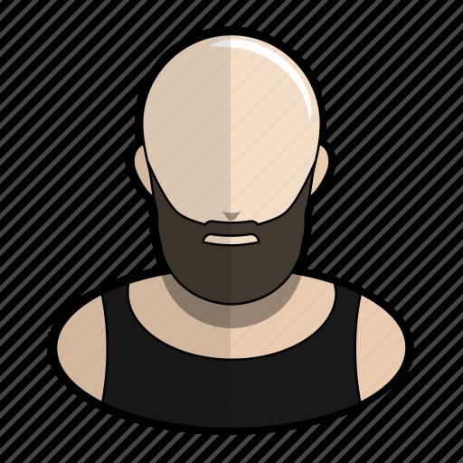 avatar, bald, biker, profile, shiny, tanktop, user icon