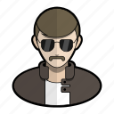 avatar, cop, mustache, police, profile, shades, user icon