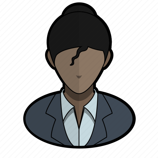 avatar, curly, official, profile, suit, user, woman icon