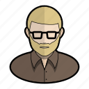 avatar, beard, dad, glasses, hipster, profile, user icon